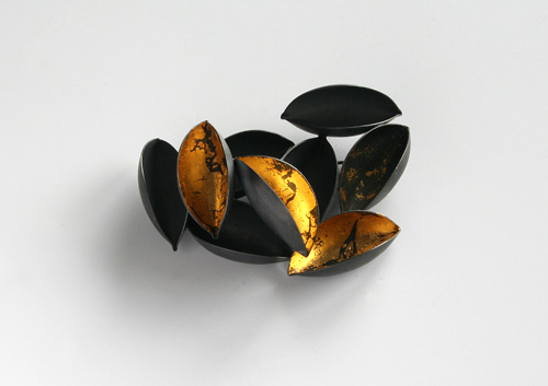 Fallen Gold, brooch, 2010,  silver, patina, leaf gold, 60 mm