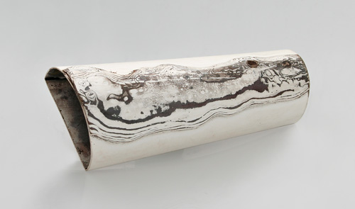 Grafica, brooch, 2007, silver, mokume, 42 mm