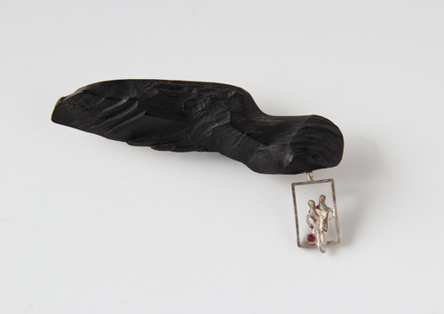 On the Wing, brooch, 2000, jet, silver, patina, ruby, 85 mm