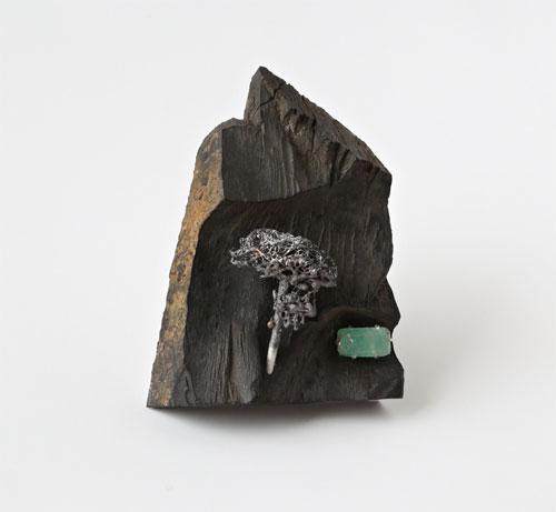 Spring, brooch, 2015, jet, silver, patina, emerald, 70 mm