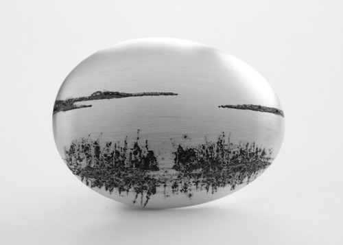Landscape, brooch, 2017, silver, niello, 45 mm