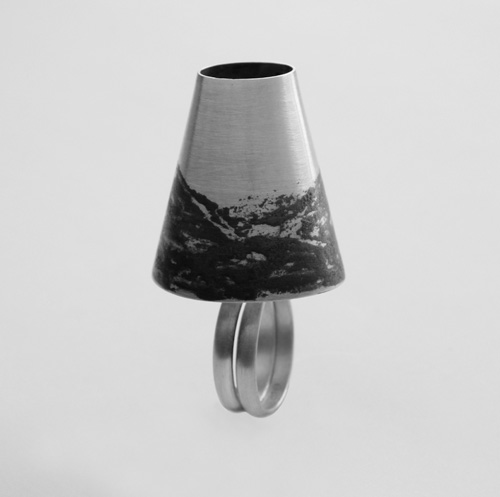 Landscape, ring, 2015, silver, niello, 50 mm