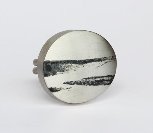 Landscape, ring, 2014, silver, niello, 30 mm