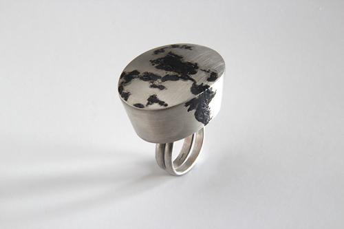 Landscape, ring, 2011, silver, niello, 35 mm