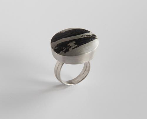 Landscape, ring, 2011, silver, niello, 30 mm