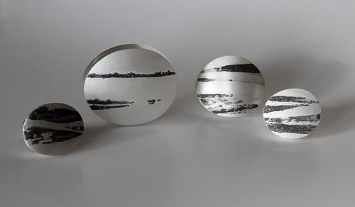 Landscape, rings, 2011, silver, niello