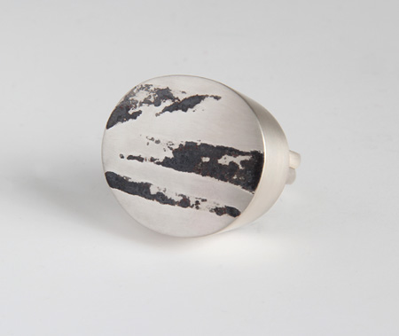 Landscape, ring, 2011, silver, niello, 30 mm