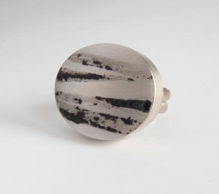 Landscape, ring, 2011, silver, niello, 32 mm
