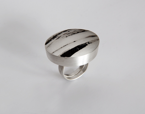 Landscape, ring, 2011, silver, niello, 32 mm