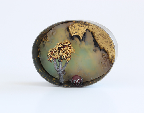 Fruit Bearing Tree, brooch, 2012, silver, rubin, chrysoprase, leaf gold, 48 mm