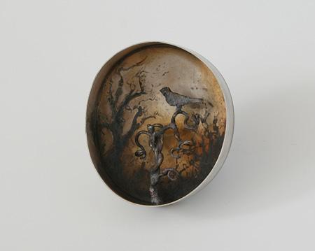 Twilight 3, brooch, 2011, silver, patina, 56 mm