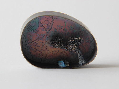 Premonition, brooch, 2016, silver, patina, opal, 50 mm