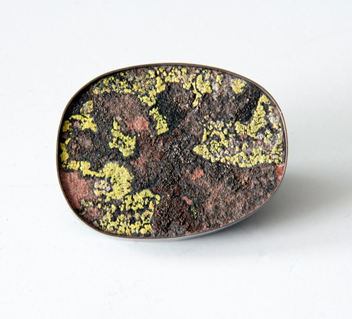 Park Plan, brooch, 2007, silver, patina, rock moss, 54 mm