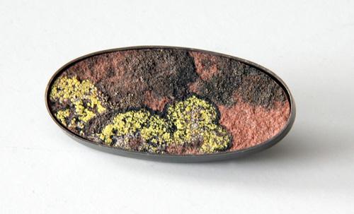 Park Plan, brooch, 2007, silver, patina, rock moss, 56 mm