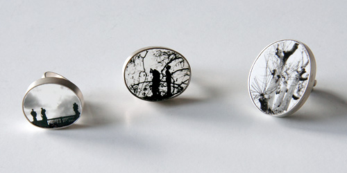 Above Eternal, rings, 2007, silver, photo on ceramics, 25 mm, 30 mm, 34 mm