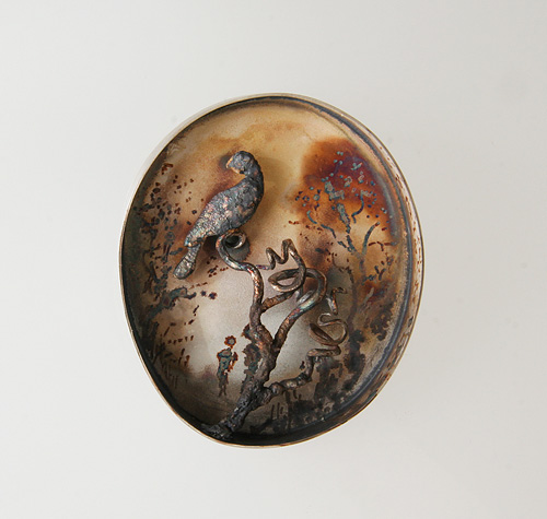 Twilight 1, brooch, 2008, silver, patina, 55 mm