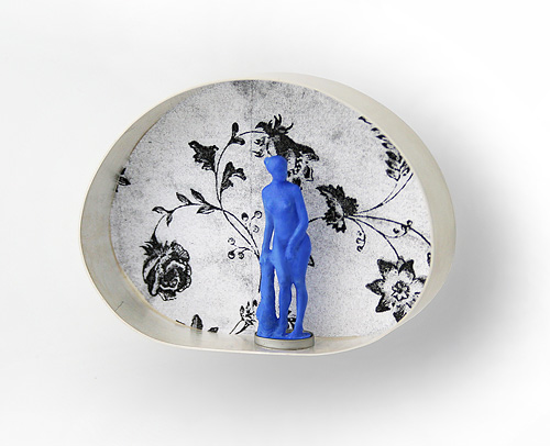 Northern Dream, brooch, 2007, silver, print on paper, plastic, paint, 61 mm