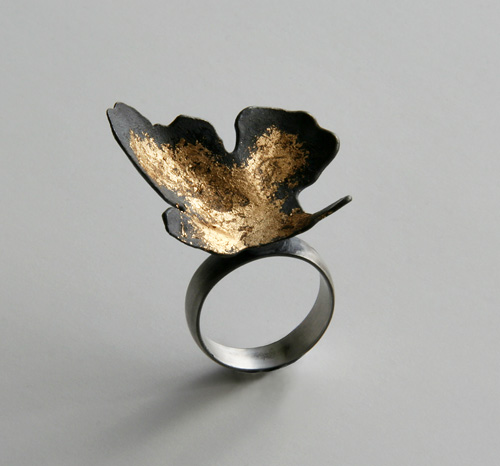Random Processes, ring, 2009, silver, patina, leaf gold, 30 mm
