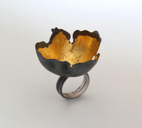 Random Processes, ring, 2013, silver, patina, leaf gold, 45 mm