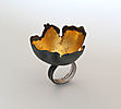 Random Processes, ring, 2013, silver, patina, leaf gold, 45 mm